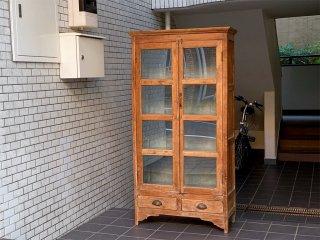 オールドメゾン old maison オールドチーク 無垢材 ガラスキャビネット 飾り棚 本棚 古材 ■