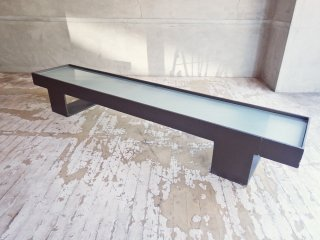インダストリアルデザイン 曇りガラストップ アイアンフレーム ディスプレイラック プランター台 W160cm ♪