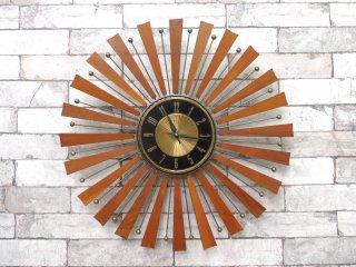 USビンテージ エルジン ELGIN ピクチャレスク PICTURESQUE ウォールクロック 壁掛け時計 ウォールナット サンバースト ミッドセンチュリー 1950年代 ●