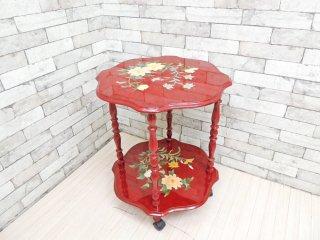 オリエンタル キッチンワゴン サイドテーブル 植物文様 ボタニカル クラシカルデザイン ●