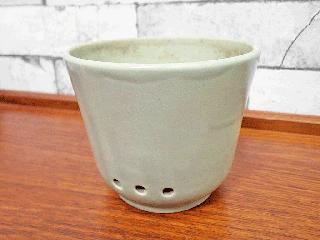 アラビア ARABIA ビンテージ 陶器のプランター フラワーポット 横穴&内水切り付 グリーン 希少 ●