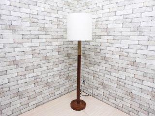 北欧スタイル Scandinavian Style チーク材 × 真鍮 フロアランプ 布製シェード ホワイト 調光機能付 H165cm ビンテージ Vintage ●