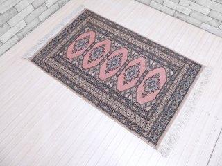 パキスタン製 ビンテージ ウール100% 絨毯 ラグ 140×68cm マット ●