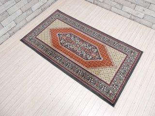 イラン製 ビンテージ ウール100% ラグ 120×65cm マット ペルシャ絨毯 ●