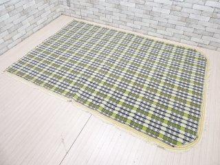 スウェーデン製 ビンテージ スウェーデン織り 260×180cm 幾何学柄 ベッドスプレッド ハギレ ブランケット ●