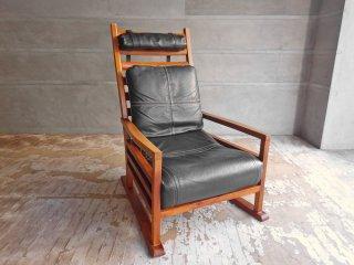 BC工房 チーク無垢材 麻朝和椅子 頭まくら 背クッション付き PVCレザー 和モダン ♪