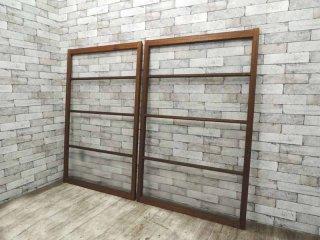 アンティーク ビンテージ 古い木製ガラス戸×2枚 ゆらゆらガラス 建具 引き戸 店舗什器 リノベーション 木味 89×136.5 ●