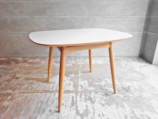 カリモク60+ karimoku Dテーブル メラミン天板 オーク材フレーム リビング ダイニングテーブル ミッドセンチュリー 希少 現状品 難アリ ♪