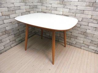 カリモク60+ karimoku Dテーブル メラミン天板 リビング ダイニングテーブル オーク材 ミッドセンチュリー 希少廃番 美品 ●