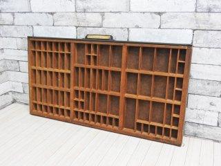 USビンテージ 古い木味のプリンタートレイ ディスプレイラック カフェスタイル 店舗什器 ●