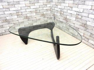 イサムノグチ Isamu Noguchi コーヒーテーブル Coffee Table ガラス天板厚19mm リプロダクト品 デザイナーズ家具 名作 現状品 ●