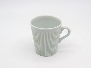 上泉秀人 しのぎ マグカップ 石灰釉 陶芸 現代作家 ●