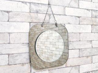 ビンテージ vintage カッティングミラー ウォールミラー 壁掛け スクエア × ラウンド レトロスタイル ●