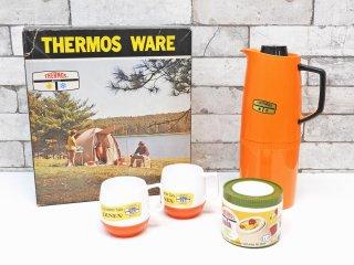 サーモス THERMOS WARE 卓上魔法瓶 & マグカップ ×2 & スナックジャー 4点セット 箱付 デッドストック レトロ MADE IN ENGLAND ●