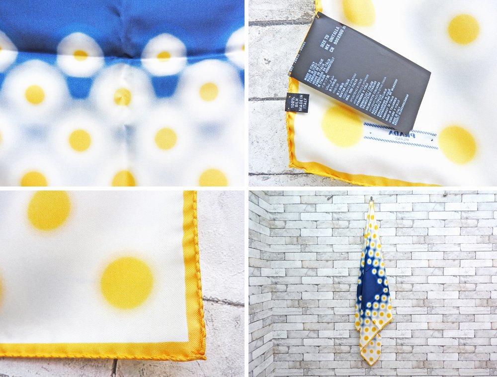 プラダ PRADA スカーフ 90×90cm ドット柄 イエロー ブルー シルク100% 箱付 美品 イタリア ミラノ ●