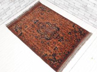 アフガニスタン絨毯 トラディショナルカーペット ラグ トライバル柄 108×147cm ウール100% ブラウン系 ●