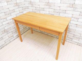 無印良品 MUJI オーク材 パーソナルデスク ワークテーブル W110 引出し付 フック付 ナチュラル シンプル ●
