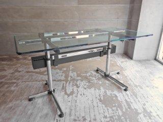 USMハラー USM Haller キトス KITOS テーブル デスク W150 ガラス天板 コードボックス付き オフィス家具 店舗什器 ♪