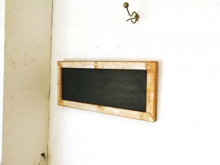 古材フレーム ウェルカムボード 黒板付 シャビーシック メッセージボード 壁掛 縦横使用可 ブラックボード 店舗什器 ★