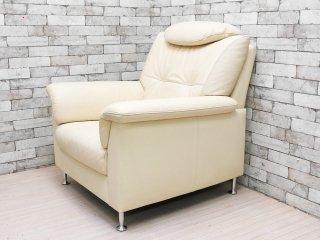 カリモク karimoku ディエーレ DIEEHRE 肘掛椅子 1Pソファ ラウンジソファ 本革 アイボリー 定価\117,600- ●