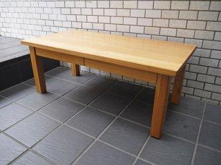 無印良品 MUJI 木製ローテーブル タモ無垢材 ナチュラル 抽斗2杯 ■