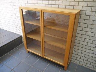 無印良品 MUJI 組み合わせて使える木製収納 ガラスキャビネット 本棚 飾り棚 ナチュラル ■