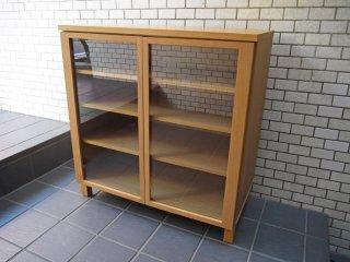 無印良品 MUJI 木製ガラスキャビネット 食器棚 カップボード オーク材 ナチュラル ■