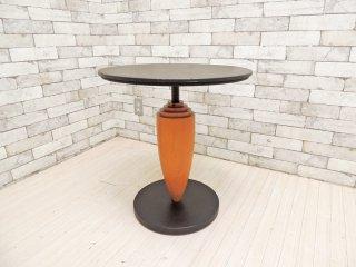 ポストモダンデザイン カフェテーブル サイドテーブル ラウンド Φ55cm ブラックペイント × チェリー材 ●