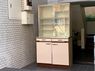 昭和レトロ レトロポップ カップボード キャビネット 食器棚 70's ジャパンビンテージ ■