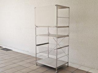 無印良品 MUJI ステンレスユニットシェルフ・中 ステンレス棚 ワイヤーバスケット フラップ扉付 ◇