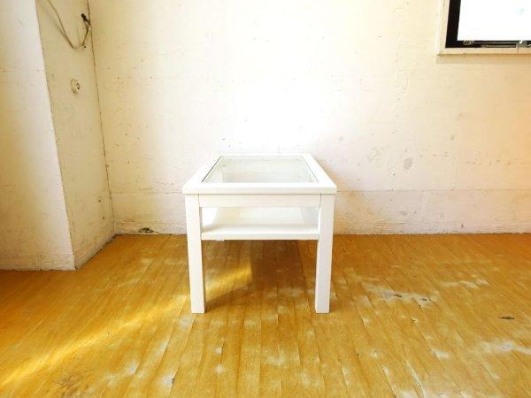モモナチュラル momo natural シエル CIELE リビングテーブル ローテーブル ガラス天板 パイン材 ホワイト フレンチカントリー ★