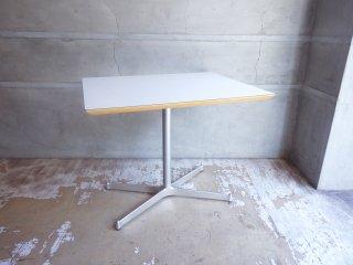 ディーアンドデパートメント D&DEPARTMENT カフェテーブル Cafe Table ホワイトメラミン天板 クロームメッキ X脚 ミッドセンチュリー ♪