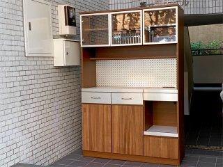 ウニコ unico ストラーダ STRADA キッチンボード レンジボード 食器棚 アッシュ材 W120cm オープンタイプ 廃番 ■