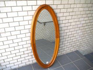 ジャパンビンテージ チーク材 オーバル ウォールミラー 鏡 壁掛け ■