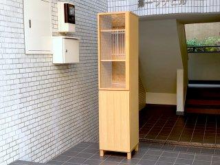 無印良品 MUJI タモ材 組み合わせて使える木製収納 スリム キャビネット カップボード ガラス扉 木製扉 奥行40cm ■