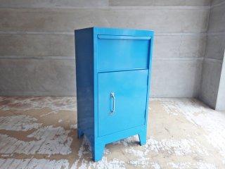 インダストリアルデザイン スチール製 ミニロッカー サイドキャビネット ナイトテーブル 小型収納 ブルー ♪