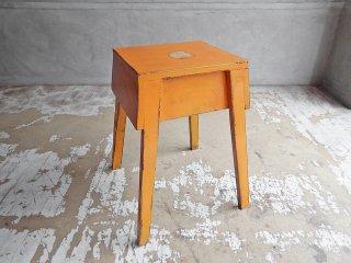 ジャパンビンテージ Japan Vintage 木製 ペインテッド スツール 踏み台 オレンジ シャビーシック ♪
