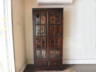 北海道民芸 HM114K 本棚 ブックケース 樺材 飾り棚 食器棚 参考価格25万 ◎