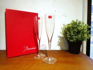 バカラ Baccarat ドン ペリニョン シャンパンフルート Dom Pérignon Champagne flute 2客 ペア 未使用保管品 ★