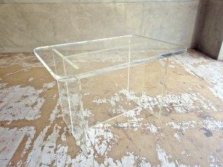 スペースエイジ アクリル製 サイドテーブル ミニテーブル H脚 クリア ミッドセンチュリー  ♪