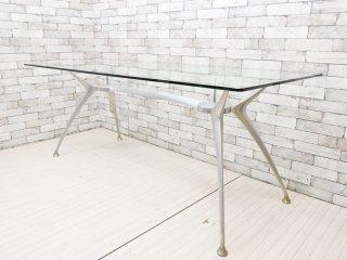 モダンデザイン Modern Design ダイニングテーブル ガラストップ アルミダイキャスト W180cm ●
