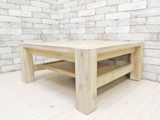ウニコ unico マノア MANOA ローテーブル センターテーブル アカシア無垢材 スクエア W75cm 西海岸 ナチュラル 定価¥36,080- ●
