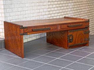 文机 ライティングデスク 欅材 太鼓鋲 鉄金具 民藝 伝統工芸 和家具 ■