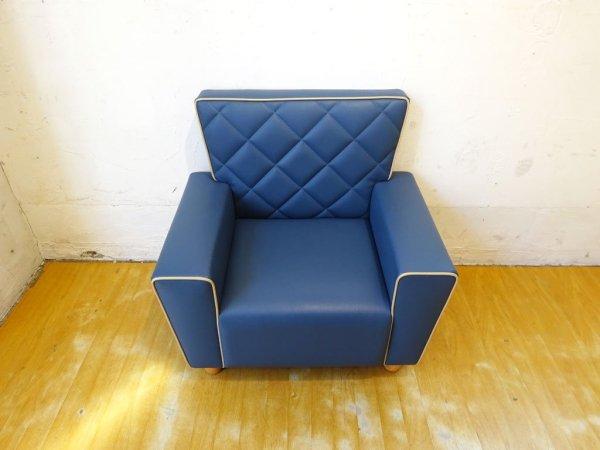 フライミープティ FLYMEe petit キッズ ソファ Kids Sofa #6593 キルティング 子供用 椅子 ブルー ラバーウッド材 ★
