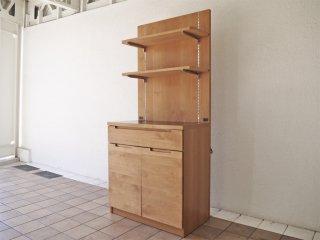 ウニコ unico ワイス WYTHE キッチン シェルフ ボード アルダー材 食器棚 カップボード レンジボード カフェスタイル 定価¥112,000- ◇