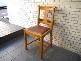 UKビンテージ チャーチチェア チャペルチェア 教会椅子 ダイニングチェア クッション座面 聖書BOX付 木味 ■
