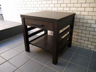 クレイト&バレル Crate&Barrel 木製 サイドテーブル ナイトテーブル ダークブラウン 抽斗1杯 USA 米国 ■