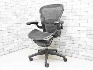 ハーマンミラー Herman Miller アーロンチェア Aeron Chair Bサイズ ランバーサポート クラシックカーボン グラファイトベース デスクチェア 現状品 ●