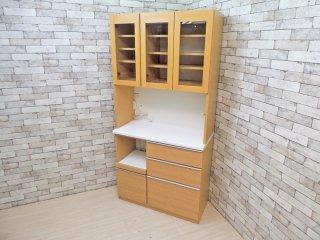 松田家具 MATSUDA キッチンボード ダイニングボード 食器棚 ナチュラル  ●