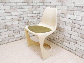 カド CADO サイドチェア Chair Model 290 FRP製 ホワイト カンチレバー チェアパッド付 スティーン・オステルゴー 1970s デンマーク 北欧ビンテージ ●